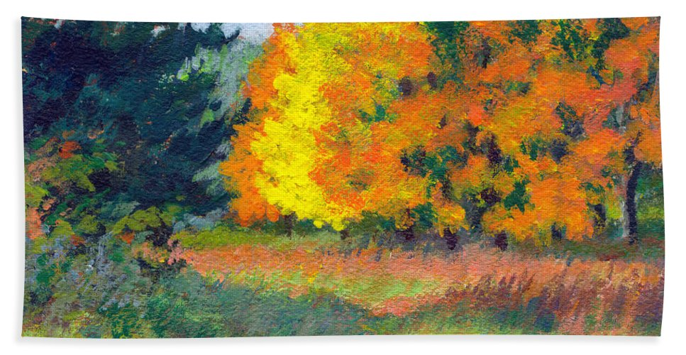 Landscape Beach Towel featuring the painting Autumn Etude by Keith Burgess