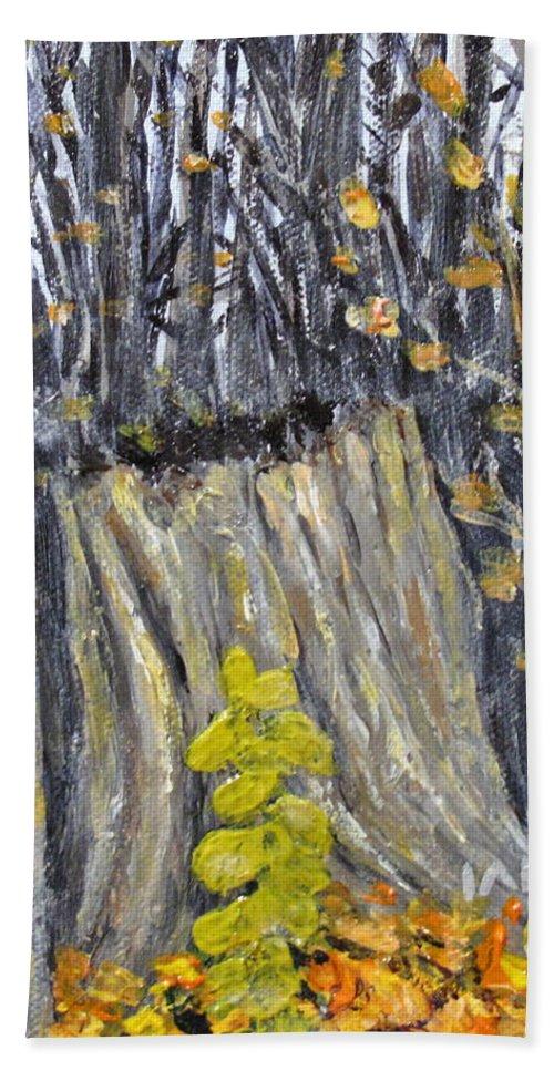 Stump Beach Towel featuring the painting Autumn Stump by Ian MacDonald