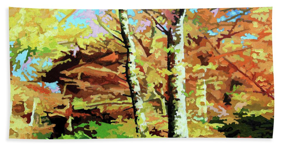 Autumn Beach Towel featuring the painting Autumn's Spectacular Display by John Lautermilch