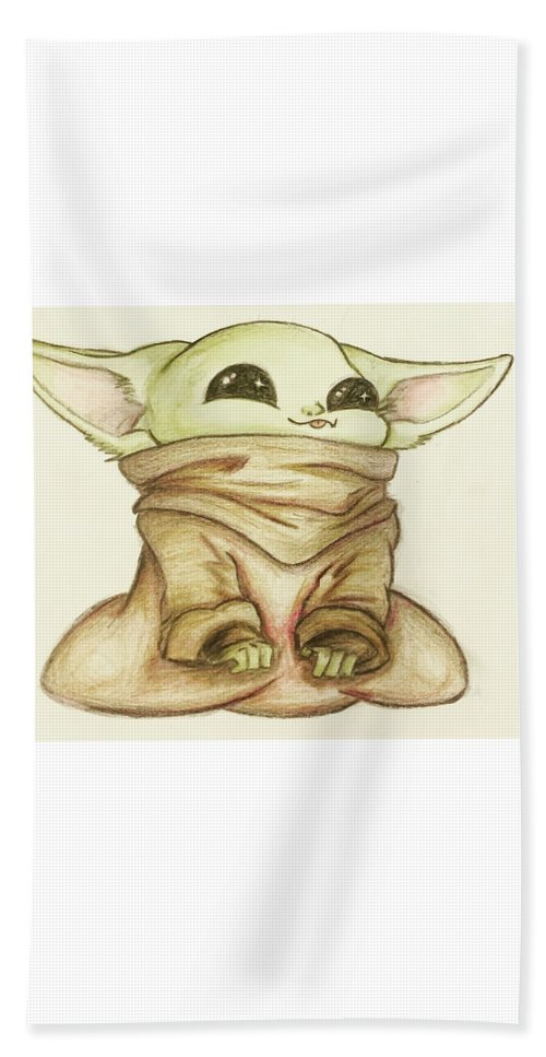 Baby Beach Towel featuring the drawing Baby Yoda by Tejay Nichols