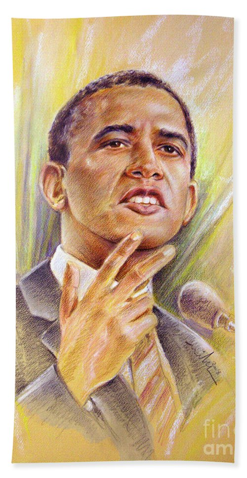 Drawing Persons Beach Towel featuring the painting Barack Obama Yes We Can by Miki De Goodaboom
