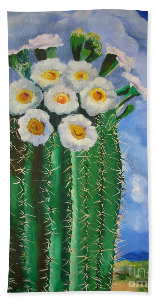 Cactus Beach Towel featuring the painting Barrel Cactus by Melinda Etzold