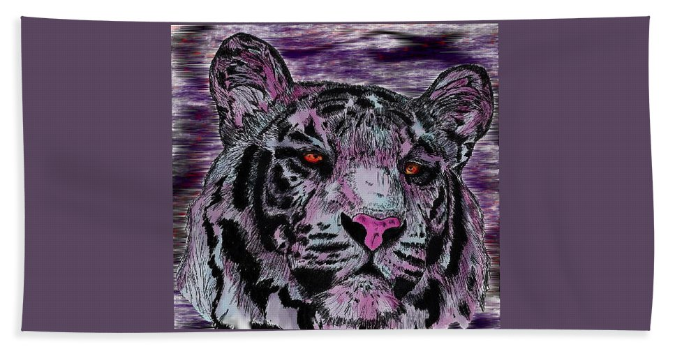 Tiger Beach Towel featuring the digital art Bashful Reloaded by Crystal Hubbard
