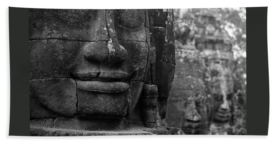 Bayon Beach Towel featuring the photograph Bayon Temple - Angkor by Patrick Klauss