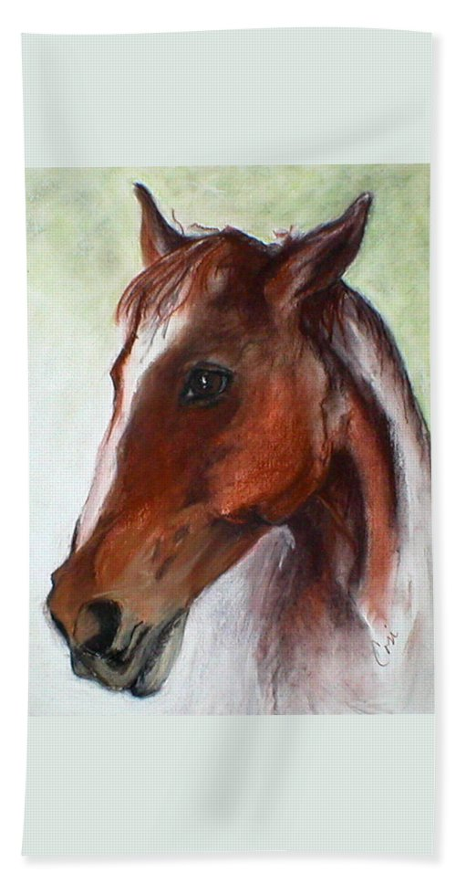 Horse Beach Towel featuring the drawing Becky by Cori Solomon