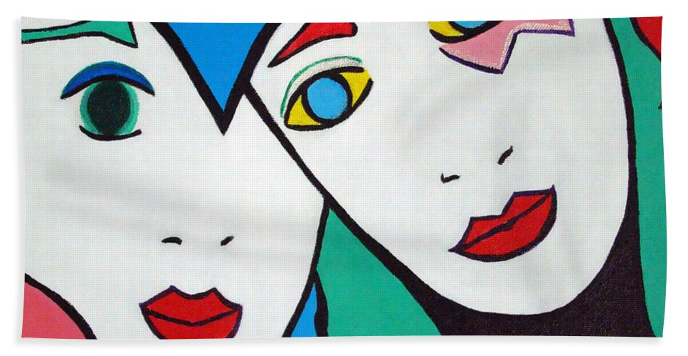 Pop-art Beach Towel featuring the painting Best Friends by Silvana Abel