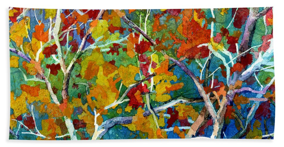 Trees Beach Towel featuring the painting Beyond the Woods - Orange by Hailey E Herrera