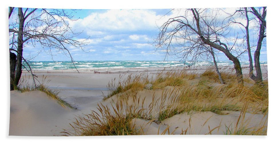 Trees Beach Towel featuring the photograph Big Waves on Lake Michigan by Michelle Calkins