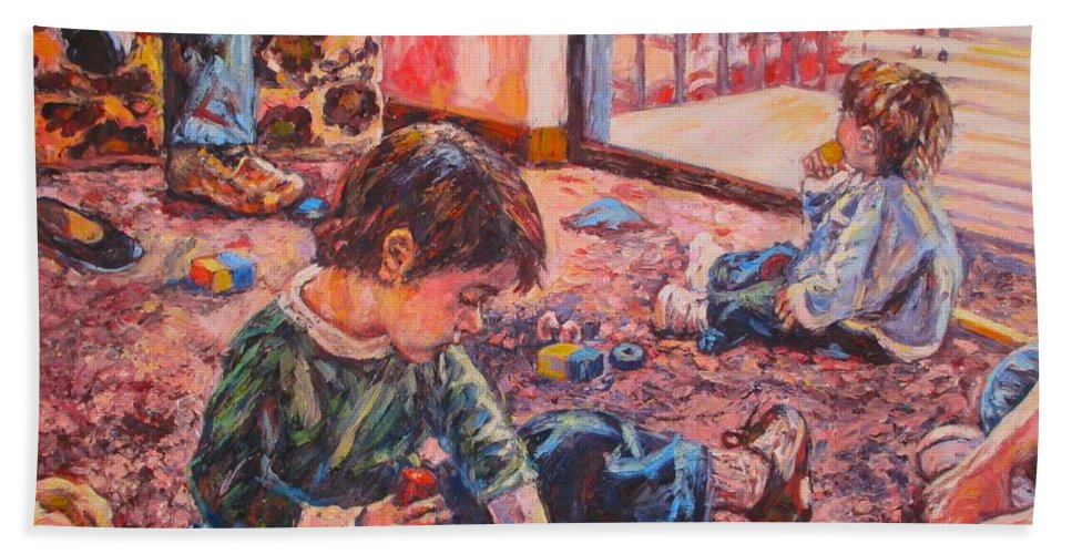 Figure Beach Towel featuring the painting Birthday Party or a Childs View by Kendall Kessler