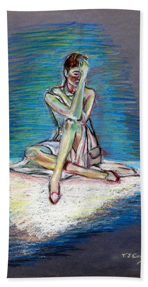 Woman Beach Towel featuring the painting Bittersweet by Tom Conway