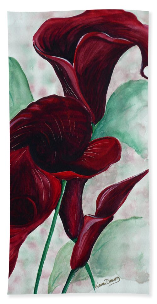 Flower Painting Floral Painting Botanical Painting Tropical Painting Caribbean Painting Calla Painting Red Lily Painting Deep Red Calla Lilies Original Watercolor Painting Beach Towel featuring the painting Black Callas by Karin Dawn Kelshall- Best