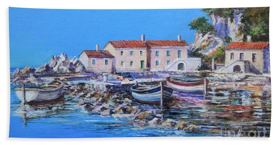 Original Painting Beach Towel featuring the painting Blue Bay by Sinisa Saratlic