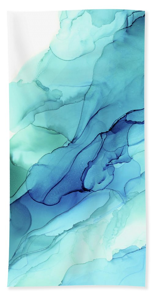 Alcohol Ink Beach Towel featuring the painting Blue Emerald Sea Waves - Abstract Ombre Flowing Ink by Olga Shvartsur