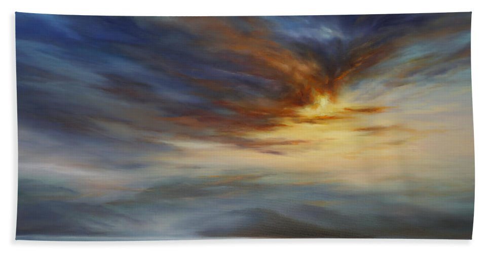 Hawaii Beach Towel featuring the painting Blue Mist on the North Shore by Cheryl Kline