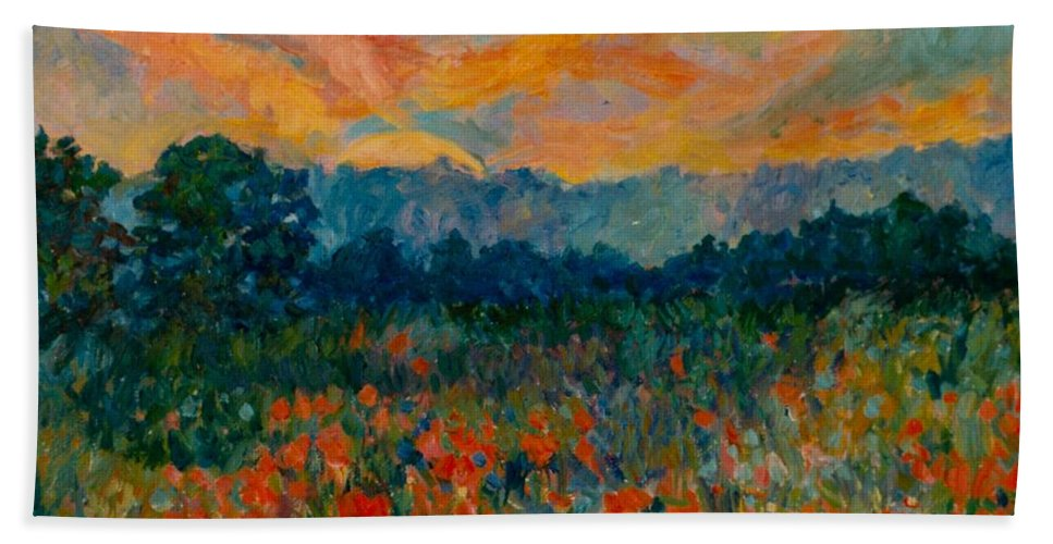 Landscape Beach Towel featuring the painting Blue Ridge Sunset by Kendall Kessler