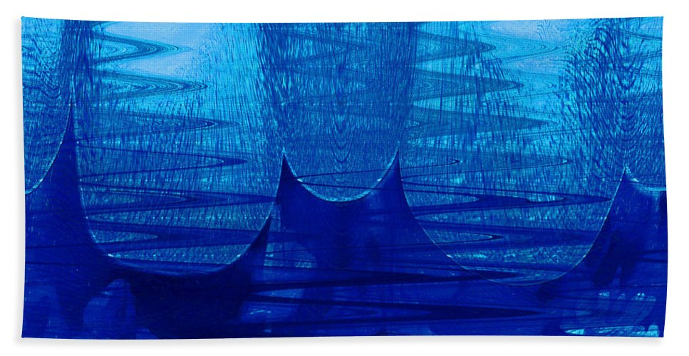 Abstract Beach Towel featuring the digital art Blue Tent by Linda Sannuti