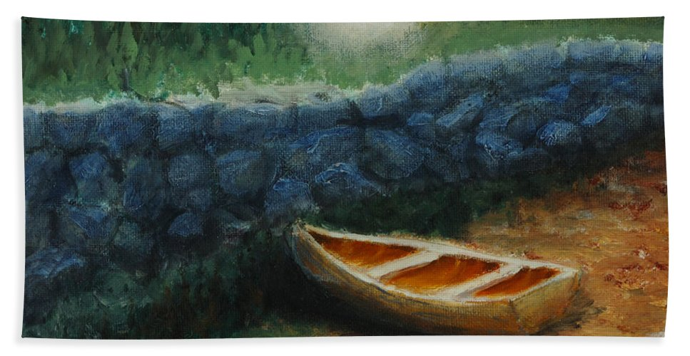 Row Boat Beach Towel featuring the painting Boat by the Breakwall by Jerry McElroy