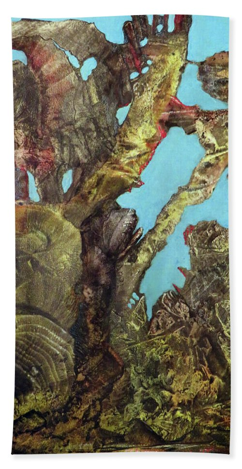 Fantasy Beach Towel featuring the painting Bogomil Alien Landscape by Otto Rapp