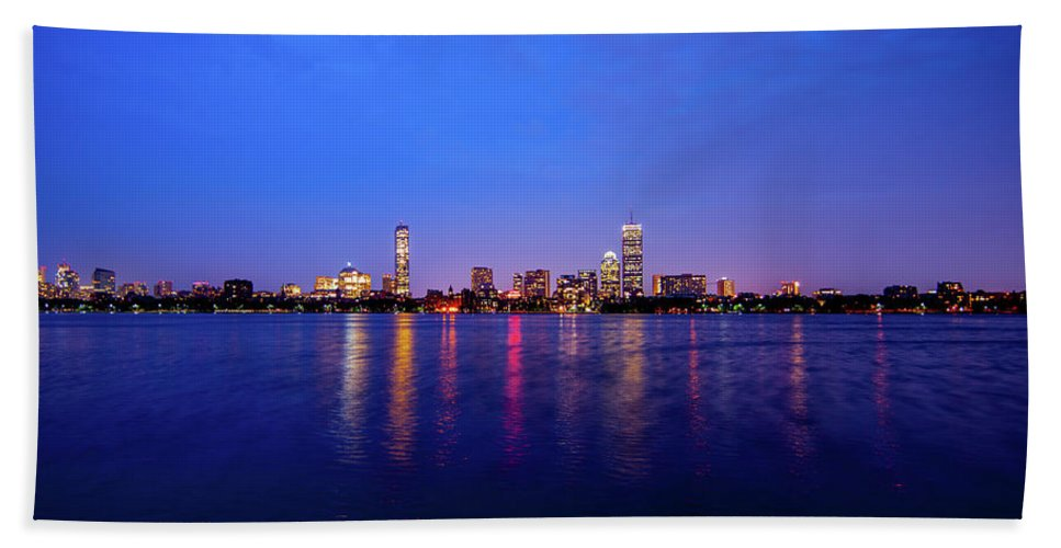 Skyline Beach Towel featuring the photograph Boston Skyline Night by Trevor Slauenwhite
