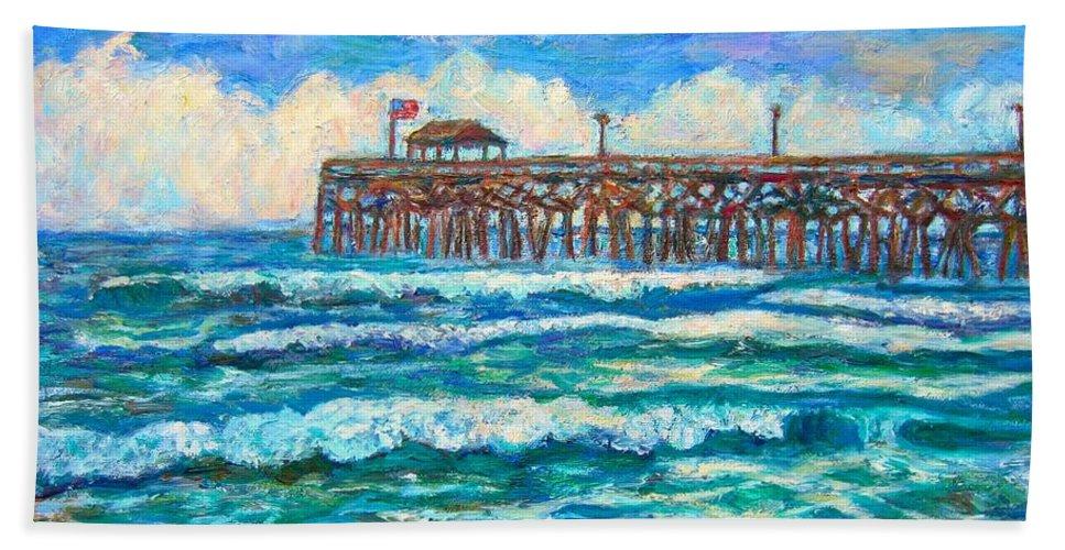 Shore Scenes Beach Towel featuring the painting Breakers at Pawleys Island by Kendall Kessler