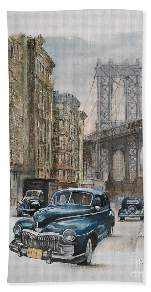 Blue Car Beach Towel featuring the painting Brooklyn bridge by Tomas Castano