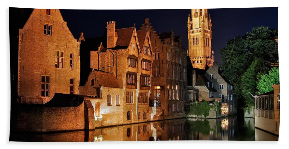 3scape Photos Beach Towel featuring the photograph Brugge Night by Adam Romanowicz