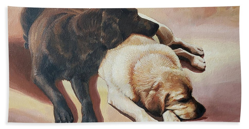 Yellow Labrador Beach Towel featuring the painting Buddies by Jennifer McDuffie