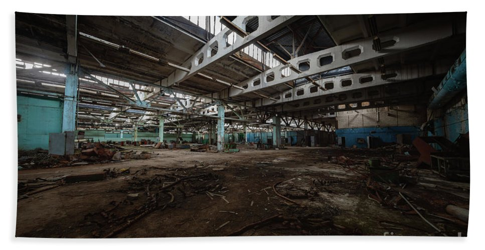 Abandoned Beach Towel featuring the pyrography Building interior in Jupiter Factory, Chernobyl Exclusion Zone 2019 by Oliver Sved