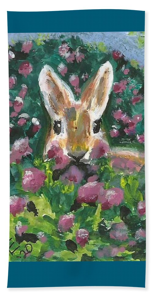 Bunny Painting Beach Towel featuring the painting Bunny by Monica Resinger