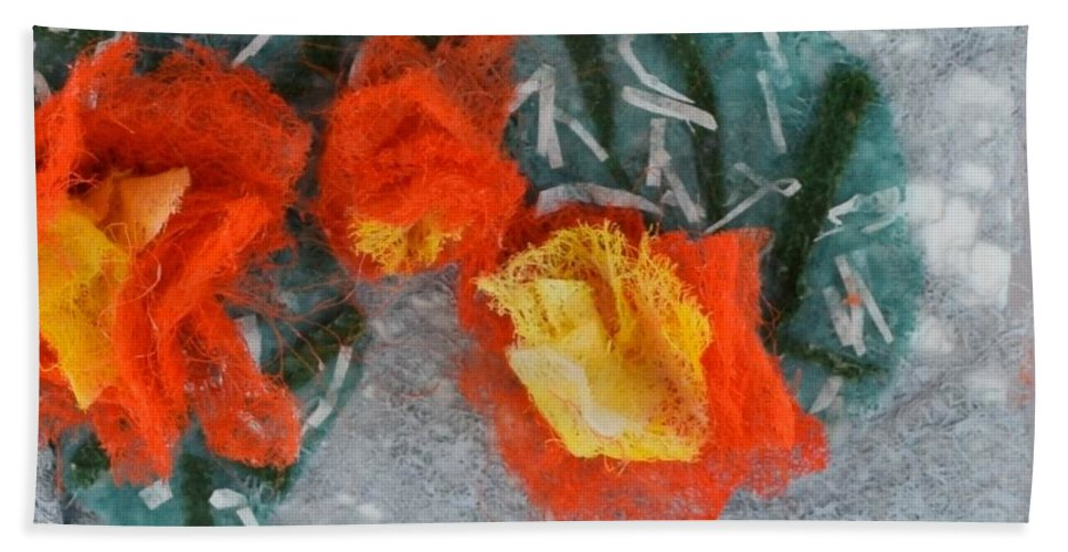 Dryer Sheets Beach Towel featuring the mixed media Cactus Flowers by Charla Van Vlack