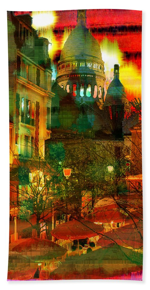 Paris Beach Towel featuring the digital art Cafe Rue Morgue by Seth Weaver