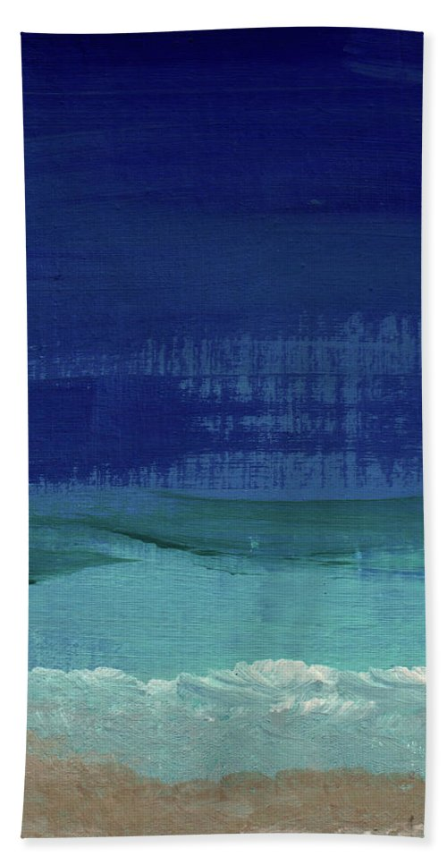 Abstract Art Beach Towel featuring the painting Calm Waters- Abstract Landscape Painting by Linda Woods