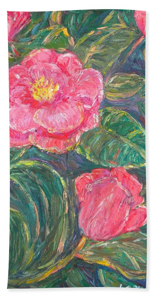 Impressionism Beach Towel featuring the painting Camelias by Kendall Kessler
