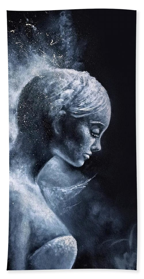 Angel Beach Towel featuring the painting Angel Black and White by Natalja Picugina