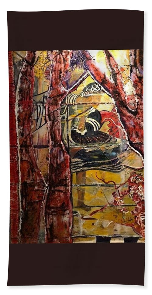 Dancing Beach Towel featuring the painting Celebration by Peggy Blood