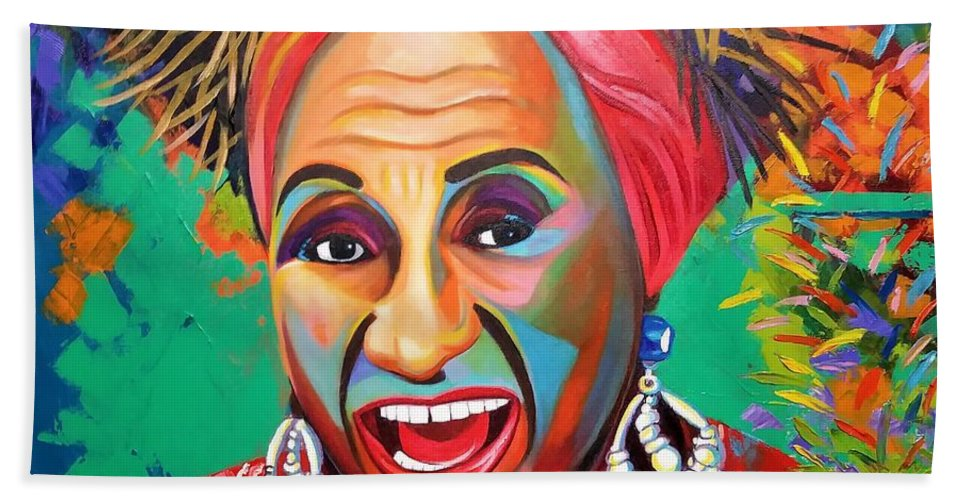Celia Cruz Beach Towel featuring the painting Celia by Jose Manuel Abraham