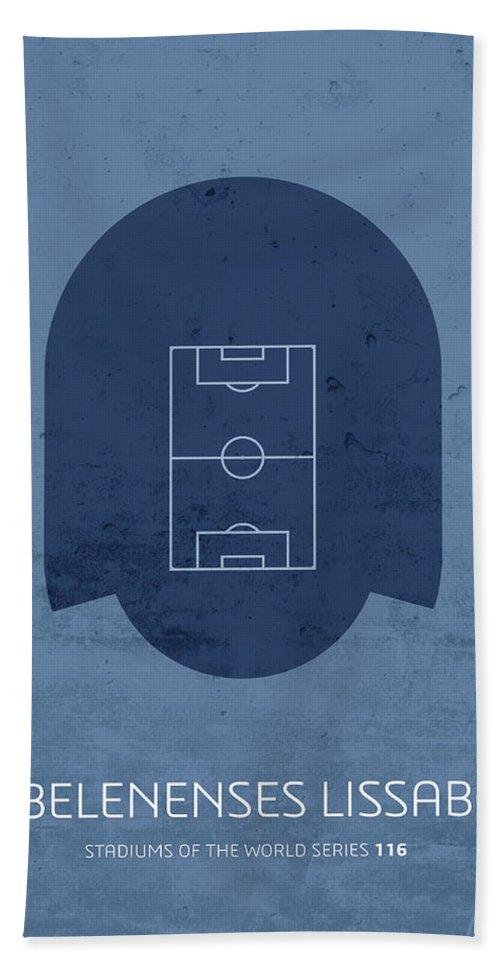 Cf Beach Towel featuring the mixed media Cf Belenenses Lissabon Stadium Football Soccer Minimalist Series by Design Turnpike