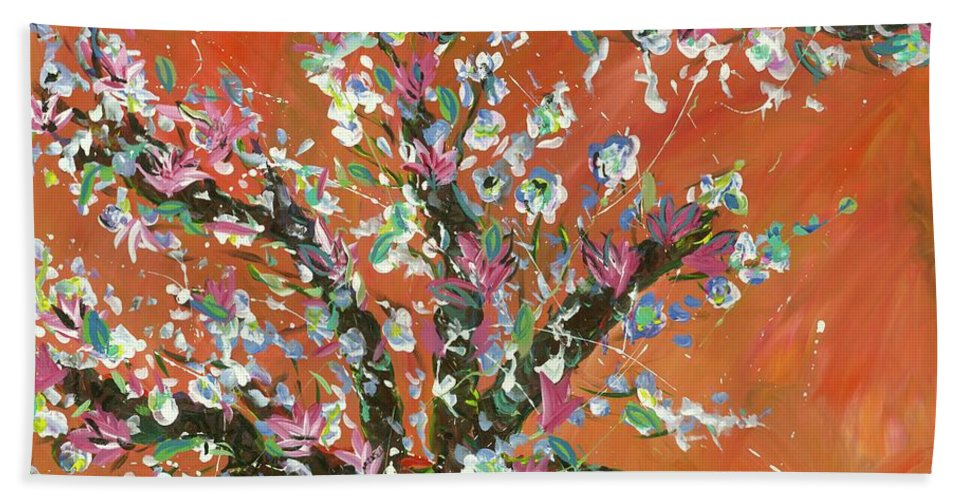 Beach Towel featuring the painting Cherry Tree by Britt Miller