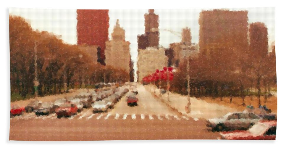 Chicago Sears Tower Beach Towel featuring the mixed media Chicago Sears Tower by Asbjorn Lonvig