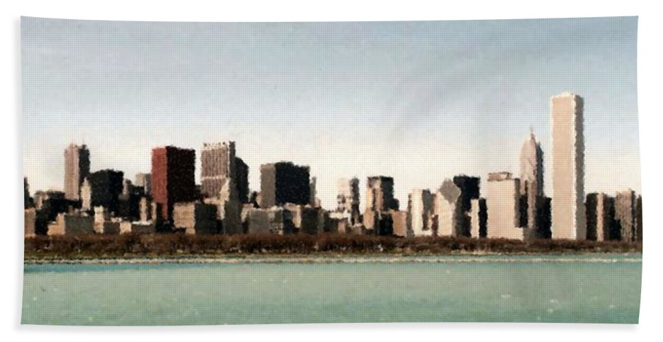 Chicago Sky Line Beach Towel featuring the mixed media Chicago Sky Line by Asbjorn Lonvig