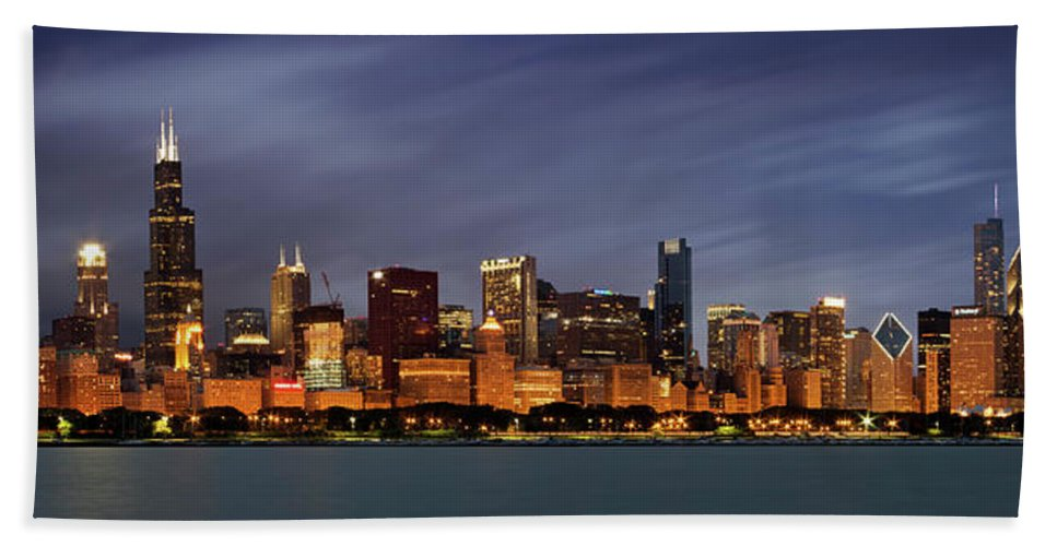 3scape Beach Towel featuring the photograph Chicago Skyline at Night Color Panoramic by Adam Romanowicz