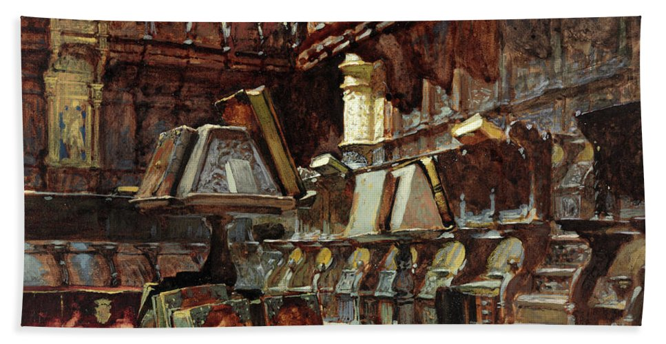 Henri Regnault Beach Towel featuring the painting Choir Stalls In A Spanish Cathedral by Henri Regnault