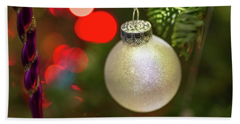 Ball Beach Towel featuring the photograph Christmas Ornaments With Bokeh Background by Ognian Setchanov