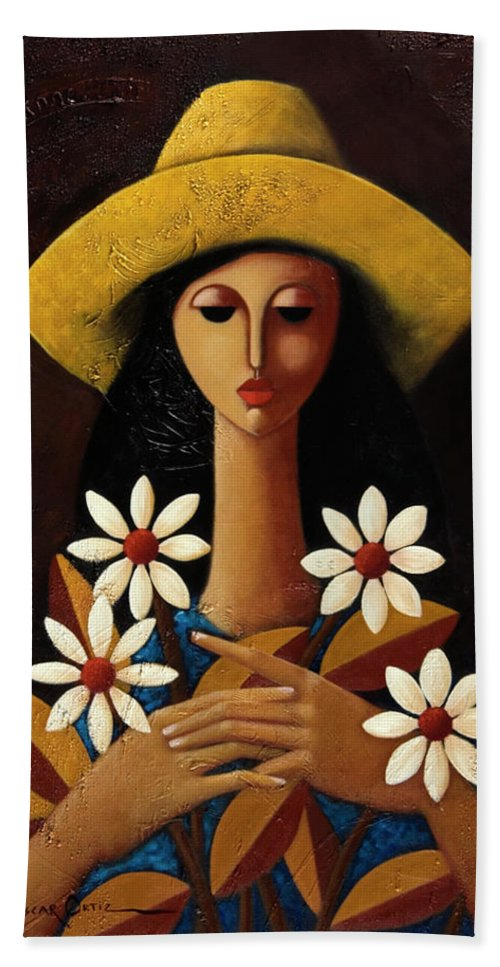 Puerto Rico Beach Towel featuring the painting Cinco Margaritas by Oscar Ortiz