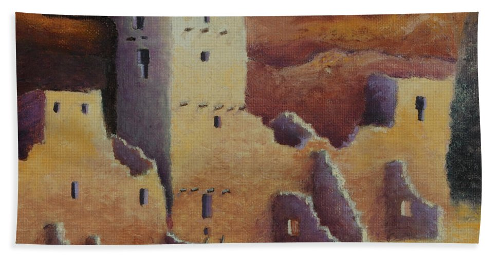 Anasazi Beach Towel featuring the painting Cliff Pallace by Jerry McElroy