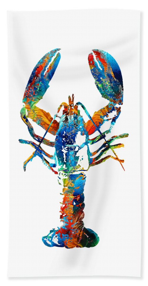 Lobster Beach Towel featuring the painting Colorful Lobster Art by Sharon Cummings by Sharon Cummings