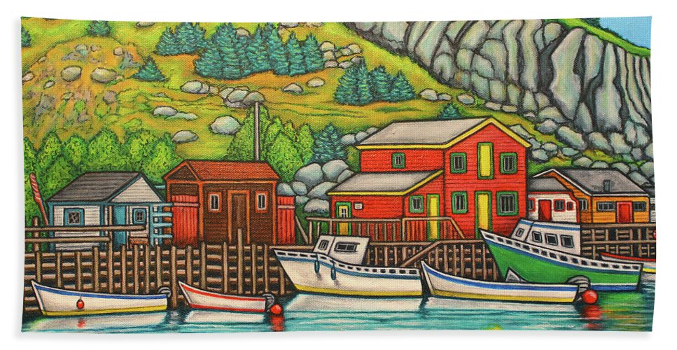 Colourful Beach Towel featuring the painting Colours of Quidi Vidi, Newfoundland by Lisa Lorenz