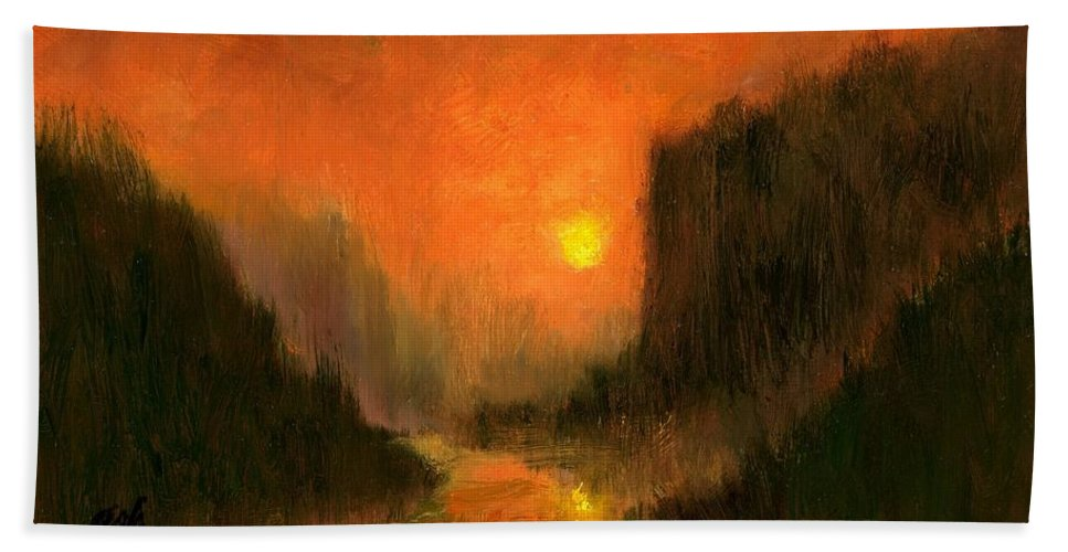 Miniatures Oil Paintings Beach Towel featuring the painting Columbia Gorge Nocturn by Jim Gola
