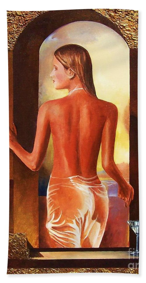 Nudes Beach Towel featuring the painting Come To Me by Sinisa Saratlic