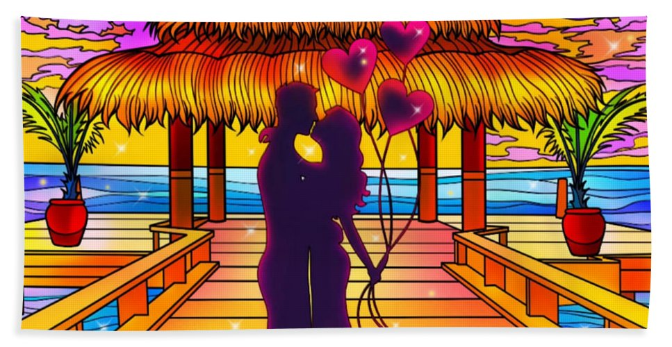 Love Beach Towel featuring the digital art Couple in love by Mopssy Stopsy
